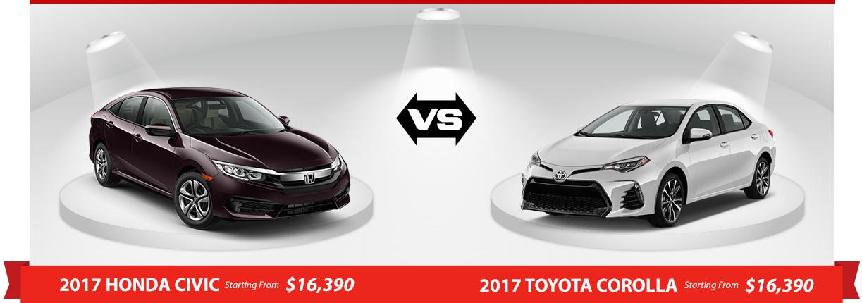 2017 honda civic sedan dx vs 2017 toyota corolla ce 6m for Honda civic vs toyota corolla 2017